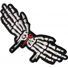 Skeleton Hands Embroidered Patch