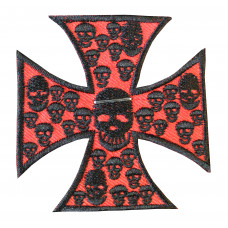 Red Iron Cross with Skulls Embroidered Patch